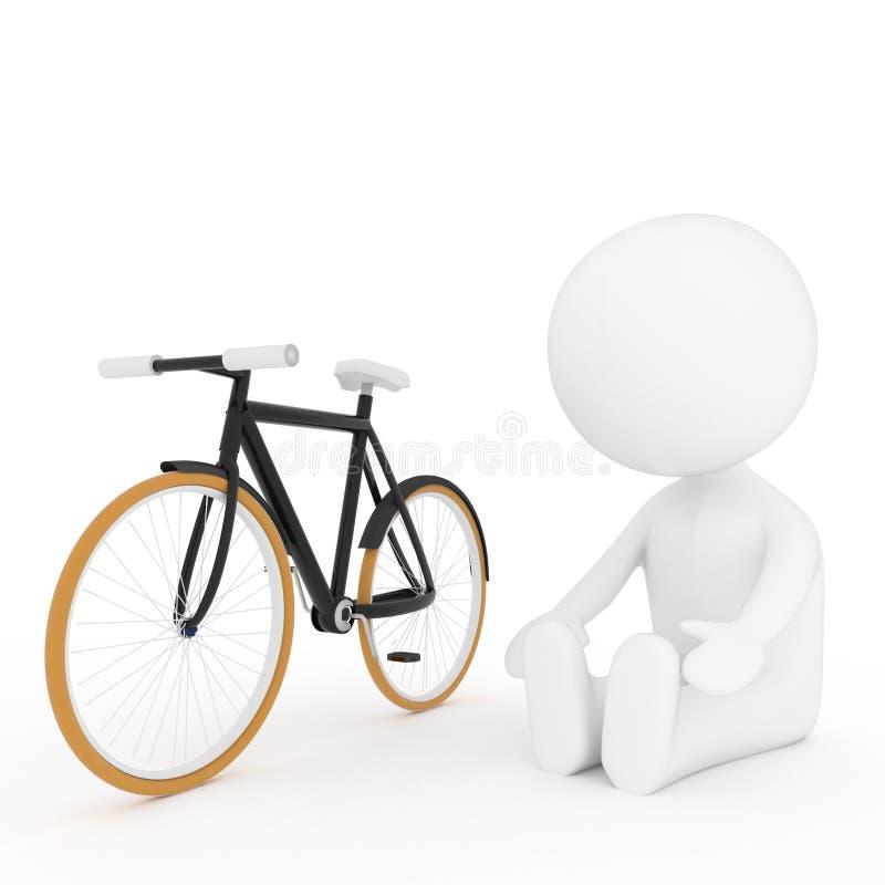 与自行车的白色人的做的瑜伽锻炼在3D翻译 皇族释放例证