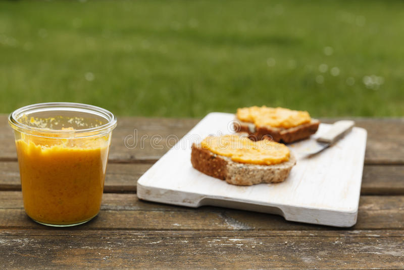 与自被烘烤的全麦麦子拼写面包和红萝卜传播的野餐 免版税库存图片