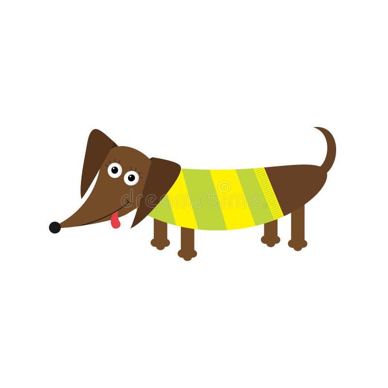 与舌头的达克斯猎犬狗 衬衣镶边了 在白色背景的逗人喜爱的漫画人物 平的设计 向量例证