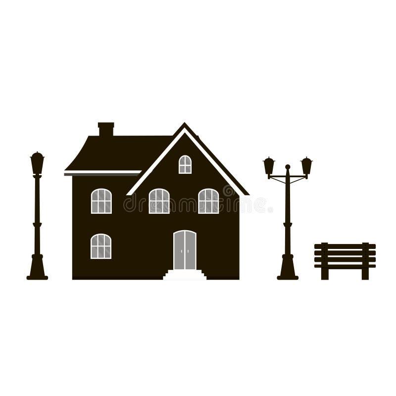 与舒适家,房子,村庄, banch的现代象剪影和 库存例证