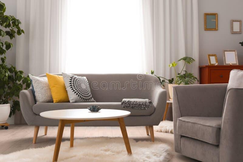 与舒适的沙发的典雅的客厅内部 免版税库存照片