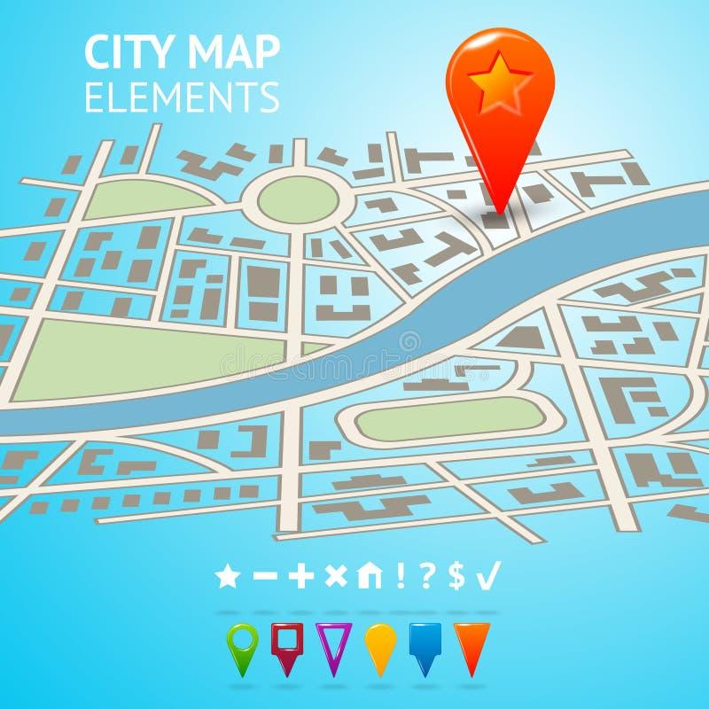 与航海标志的城市地图 向量例证