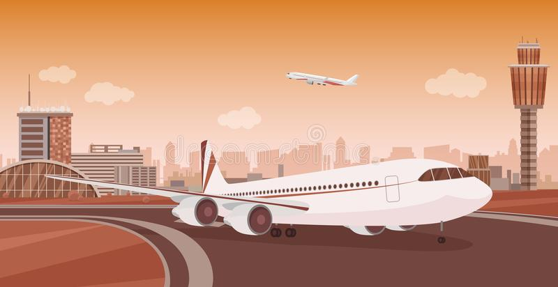 与航空器离开的机场终端大厦 单色单音颜色传染媒介机场风景 向量例证