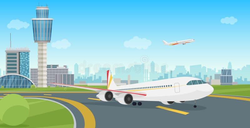 与航空器飞机离开的机场终端大厦 传染媒介机场风景 库存例证