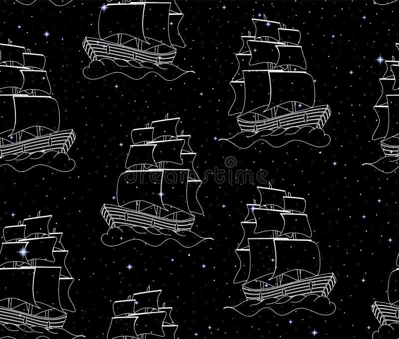 与航行横跨空间满天星斗的天空的船的传染媒介无缝的样式 皇族释放例证