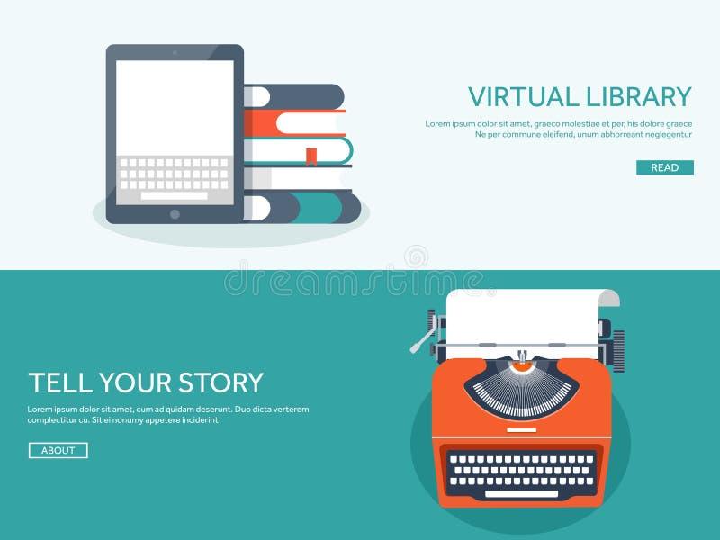 与舱内甲板的传染媒介例证打字 讲您的故事 编写的 Blogging 向量例证