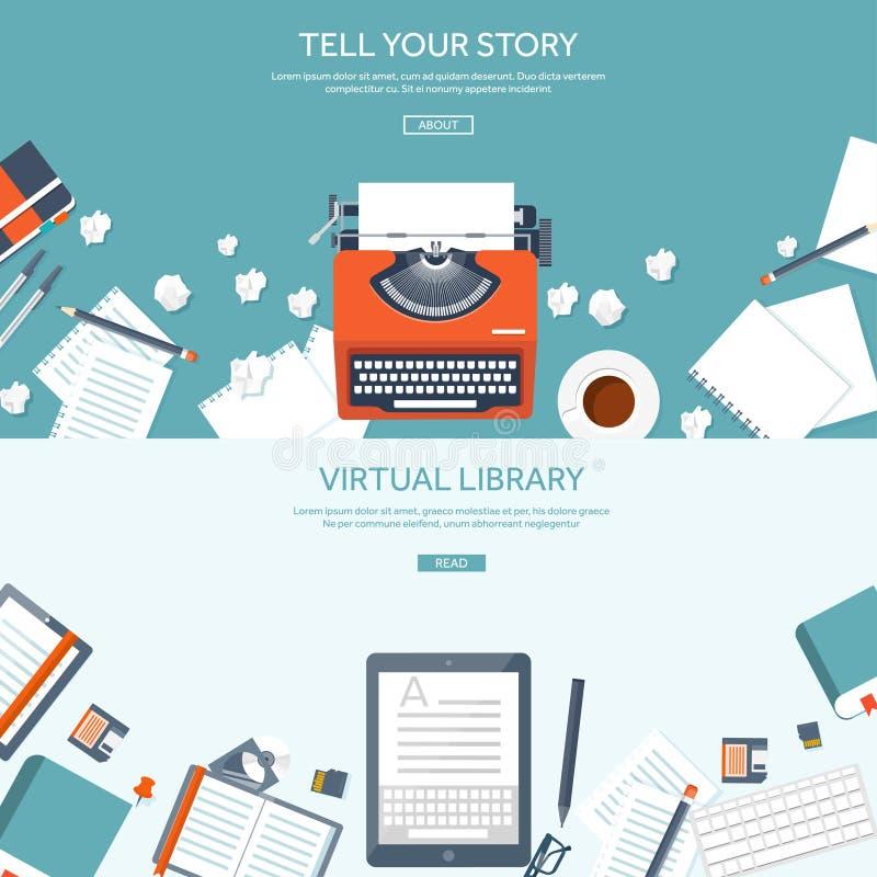 与舱内甲板的传染媒介例证打字 讲您的故事 编写的 Blogging 库存例证