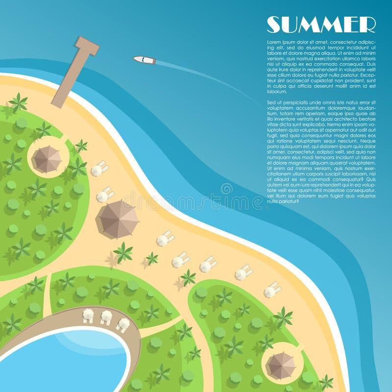 与船坞、酒吧、游泳池和太阳懒人的海滩 向量例证