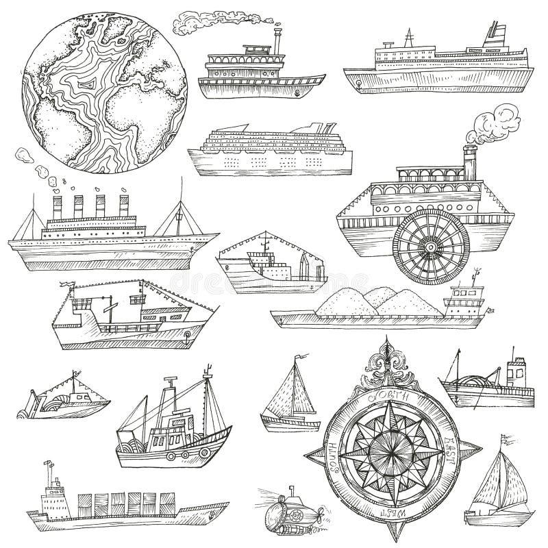 与船的海样式 向量例证