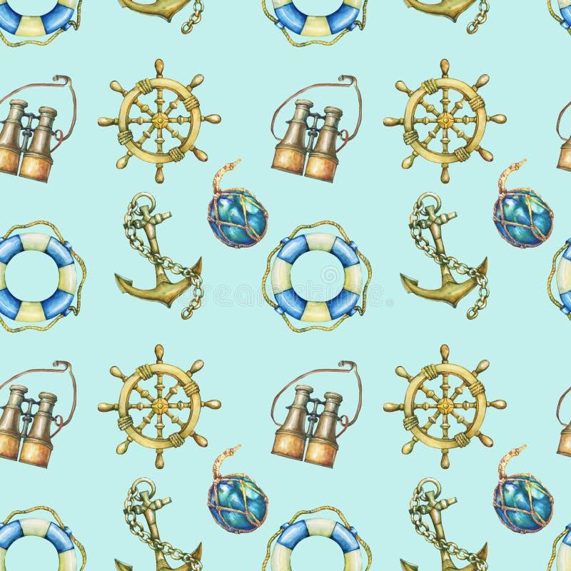 与船舶元素的无缝的样式,隔绝在淡色绿松石背景 老双眼, lifebuoy,古色古香的风船steeri 皇族释放例证