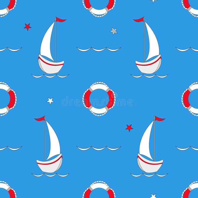 与船舶设计元素的无缝的样式 逗人喜爱的动画片海对象 也corel凹道例证向量 皇族释放例证