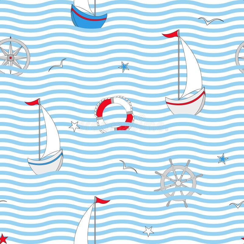 与船舶设计元素的无缝的样式 逗人喜爱的海对象 也corel凹道例证向量 库存例证