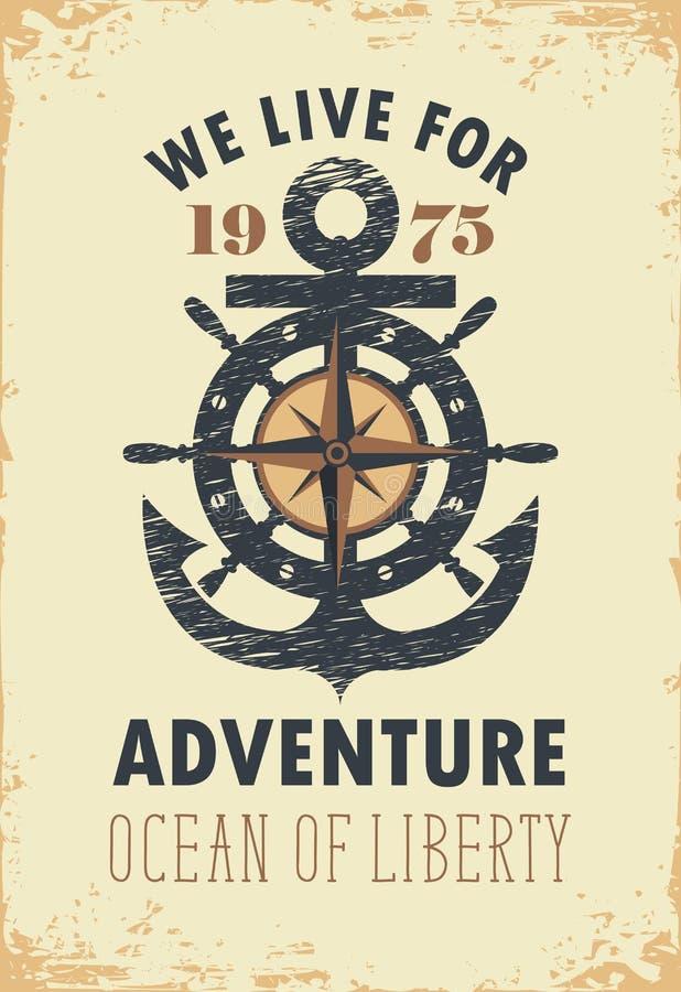 与船锚、风的舵和罗斯的旅行横幅 库存例证