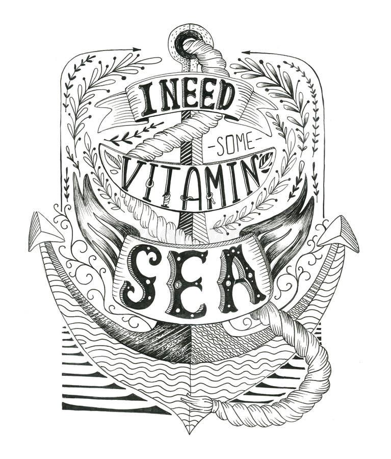 与船锚和字法的手拉的葡萄酒标签 皇族释放例证