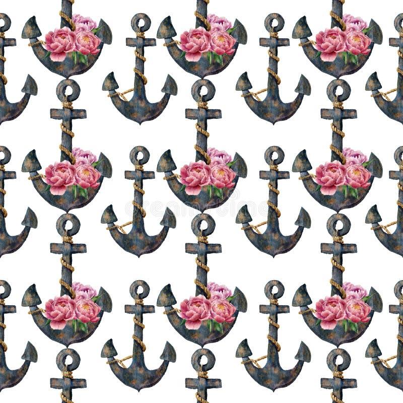 与船锚和花的水彩无缝的样式 背景查出的白色 对设计、纺织品和背景 库存例证
