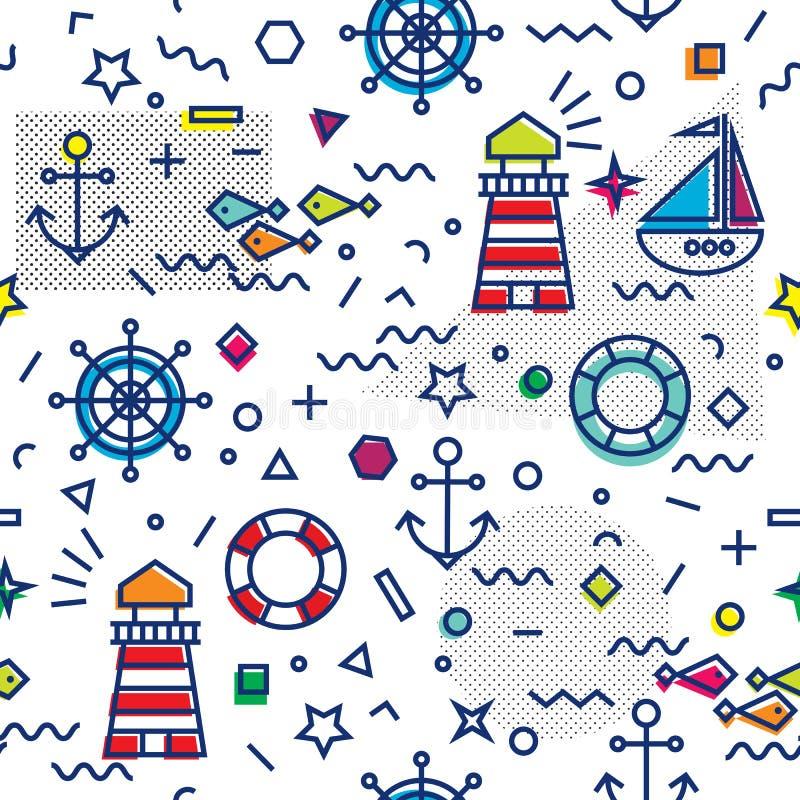 与船锚和风船的海洋无缝的样式 库存例证