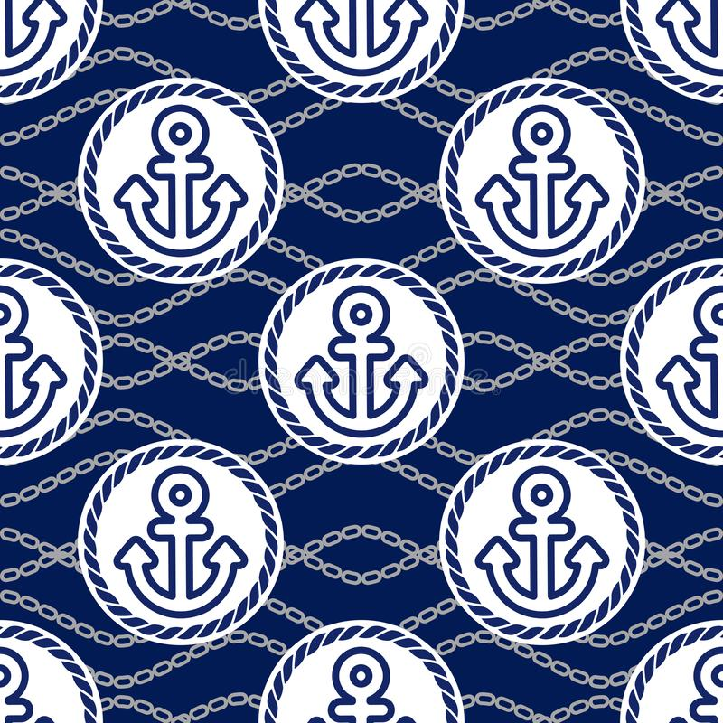 与船锚的无缝的样式 海洋题材持续的背景  库存例证