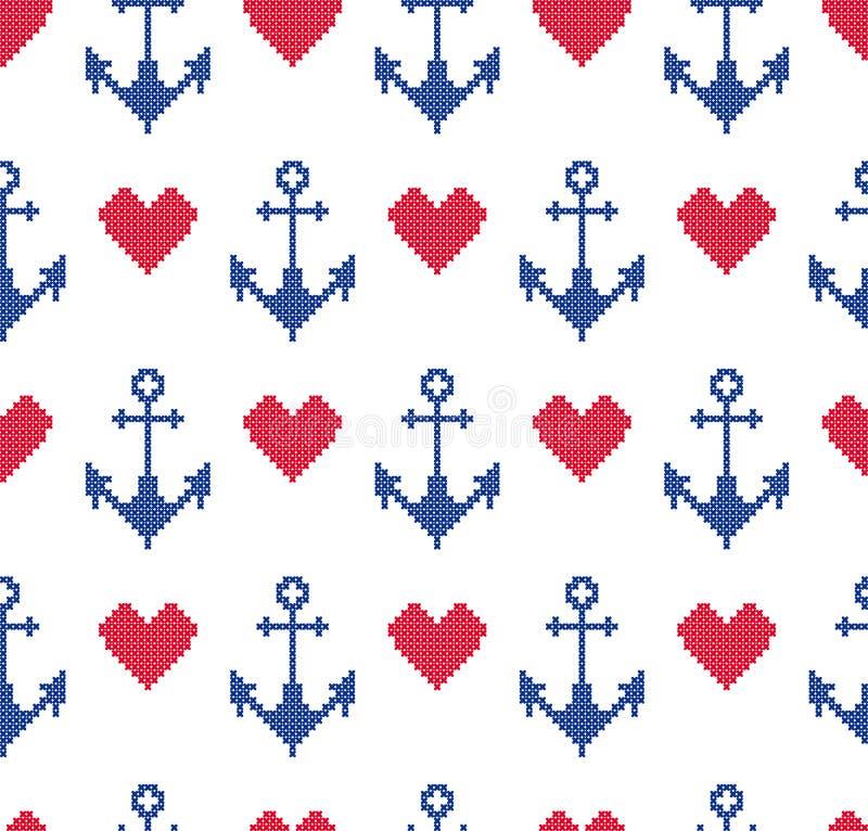 与船锚的无缝的样式 海装饰品 向量例证