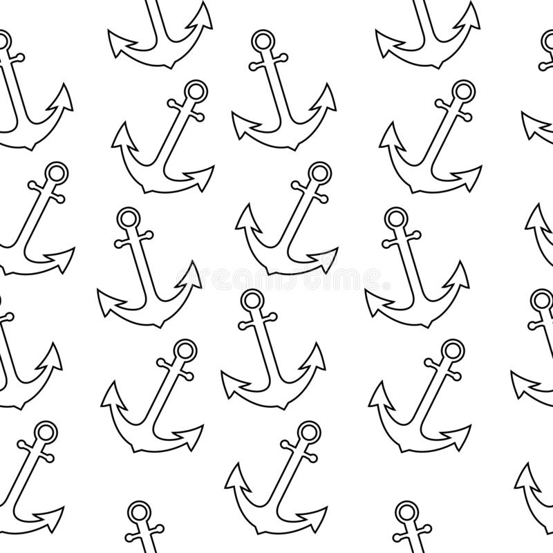 与船锚的无缝的海水手样式 抽象重复背景,动画片例证可以使用当织物印刷, 库存例证
