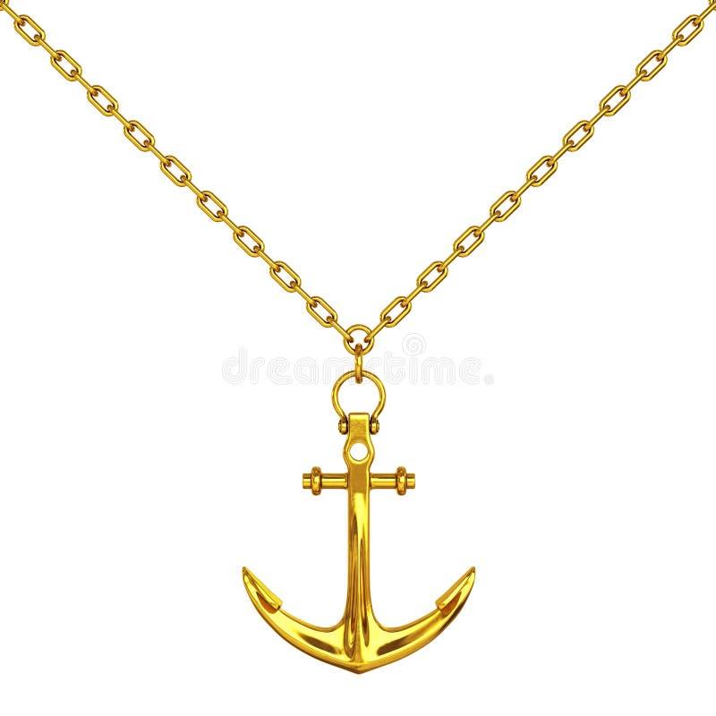 与船锚的金黄项链 3d翻译 向量例证