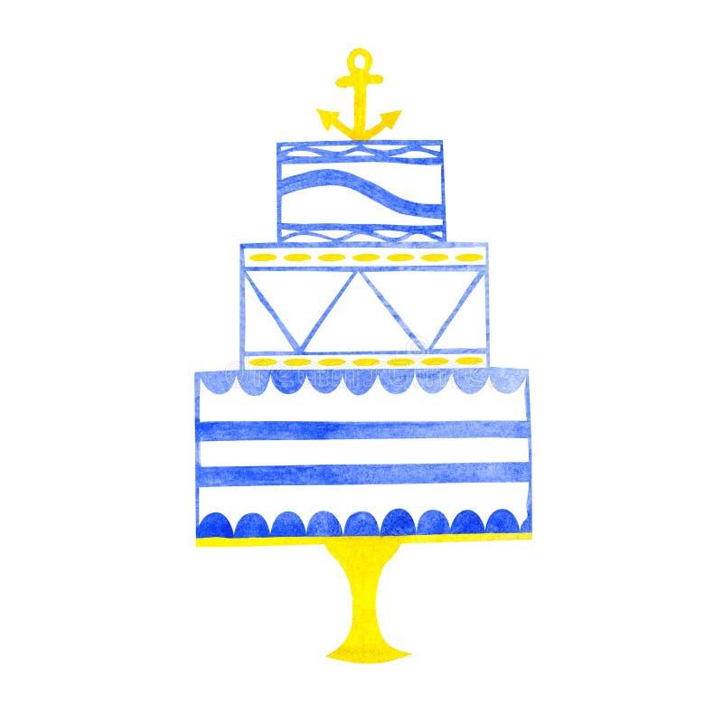 与船锚的水彩手拉的婚宴喜饼 向量例证