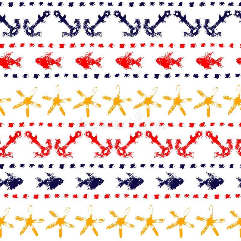 与船锚,鱼,海星,小点,传染媒介的五颜六色的海洋镶边无缝的样式 皇族释放例证