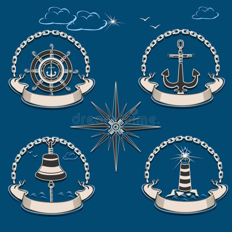 与船齿轮的海洋标签 皇族释放例证