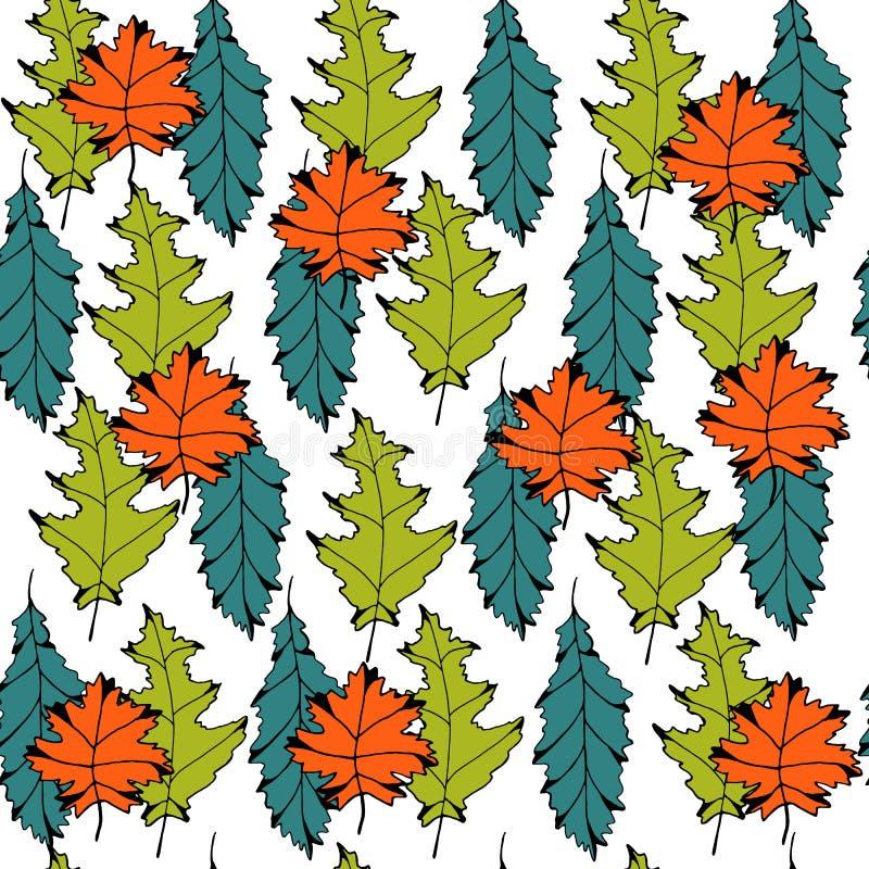 与色的叶子的传染媒介无缝的背景 皇族释放例证