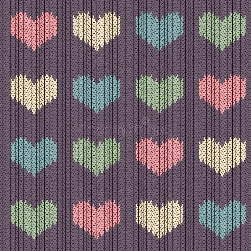 与色的心脏的被编织的羊毛无缝的样式在葡萄酒紫色背景 向量例证
