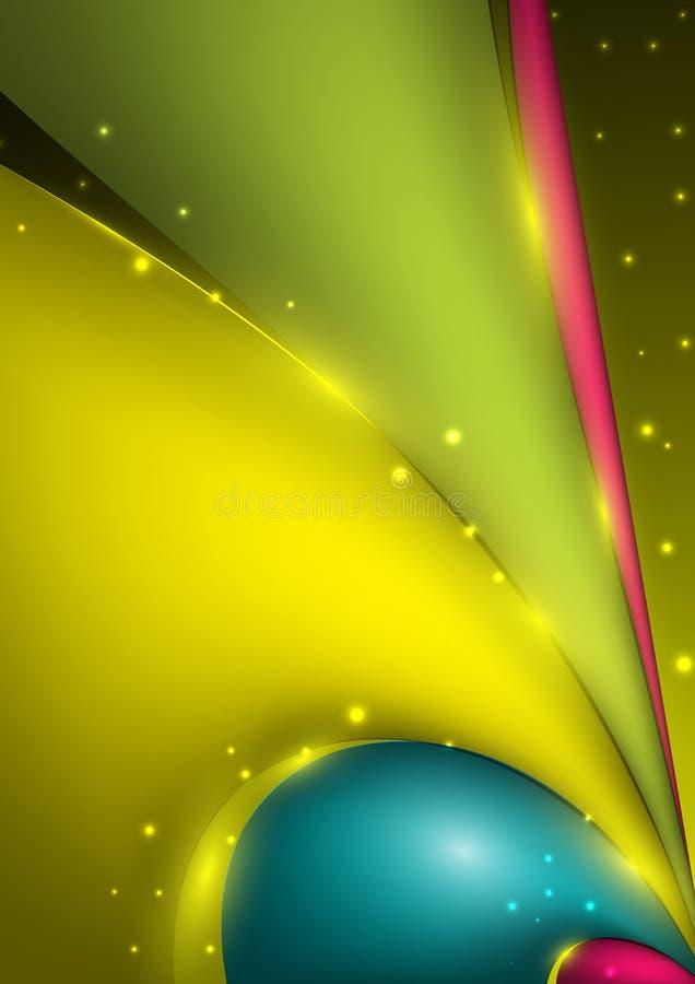 与色的波浪和光线影响的抽象传染媒介背景 库存例证