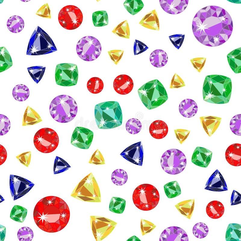 与色的珍贵的宝石的无缝的样式 向量例证