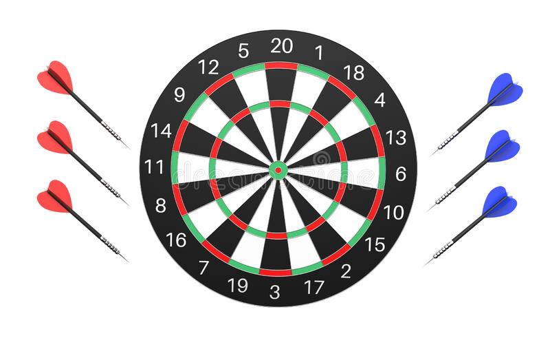 与色的箭的掷镖的圆靶 3d被隔绝的翻译例证 库存例证
