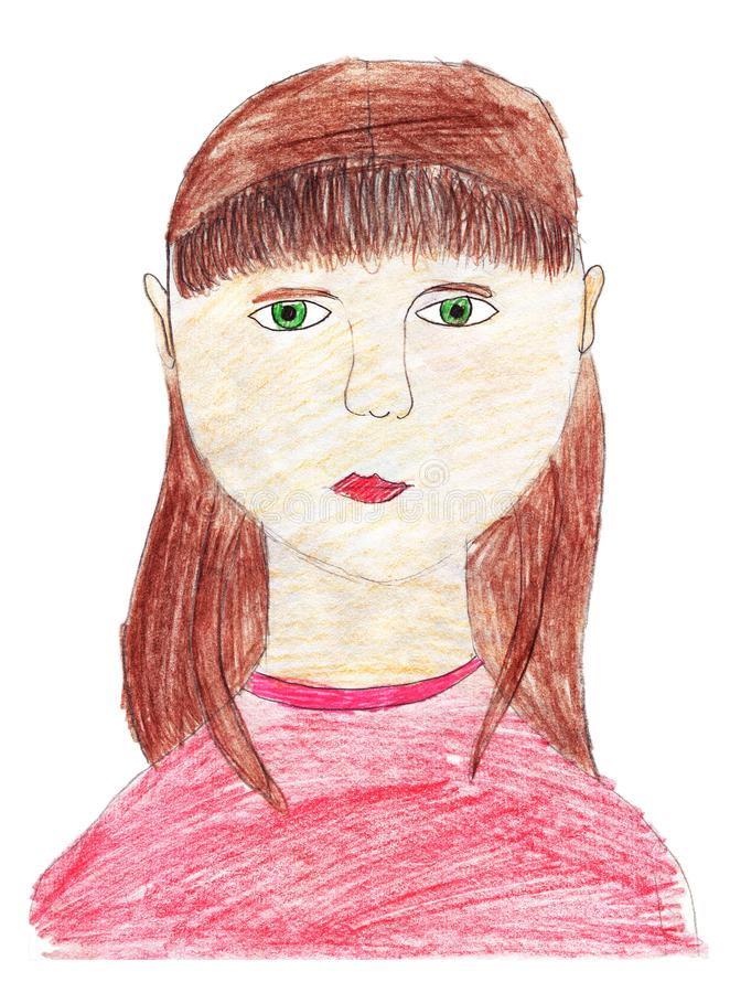 与色的铅笔的儿童的图画 一个哀伤的女孩的画象有她的头发的宽松 r 向量例证