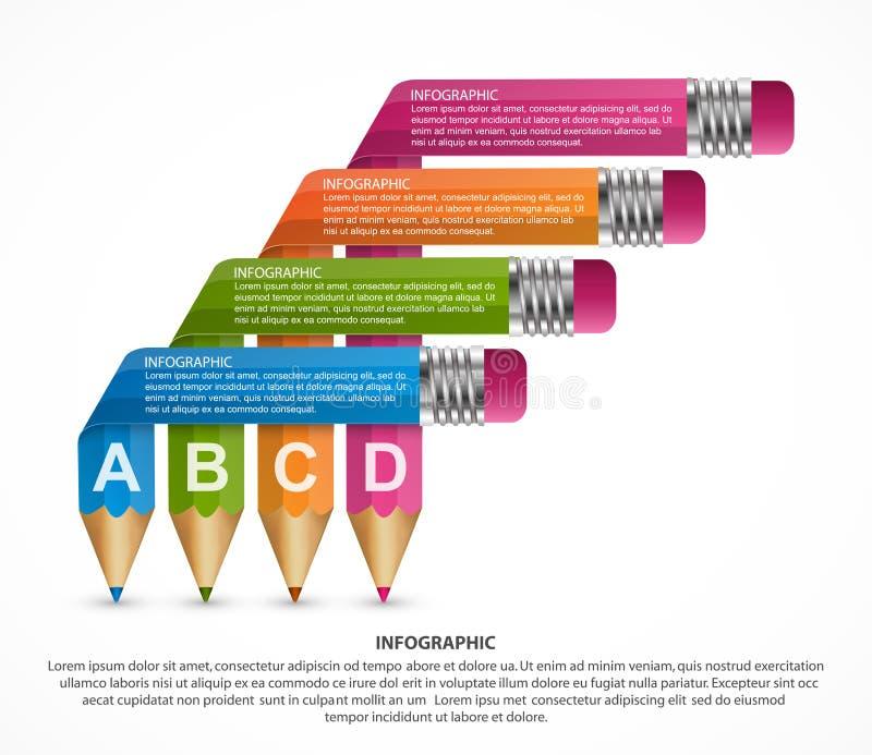 与色的铅笔的Infographics模板以丝带的形式 库存例证