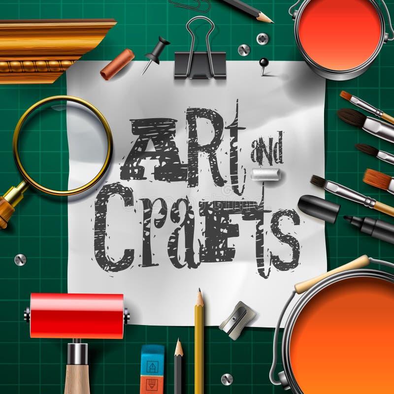 与艺术家工具的艺术和工艺模板 向量例证