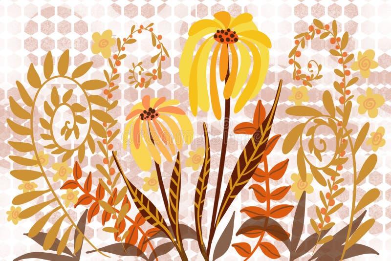 与艺术性的平的花和秋天蕨设计艺术的抽象小点和六角形背景设计背景 向量例证