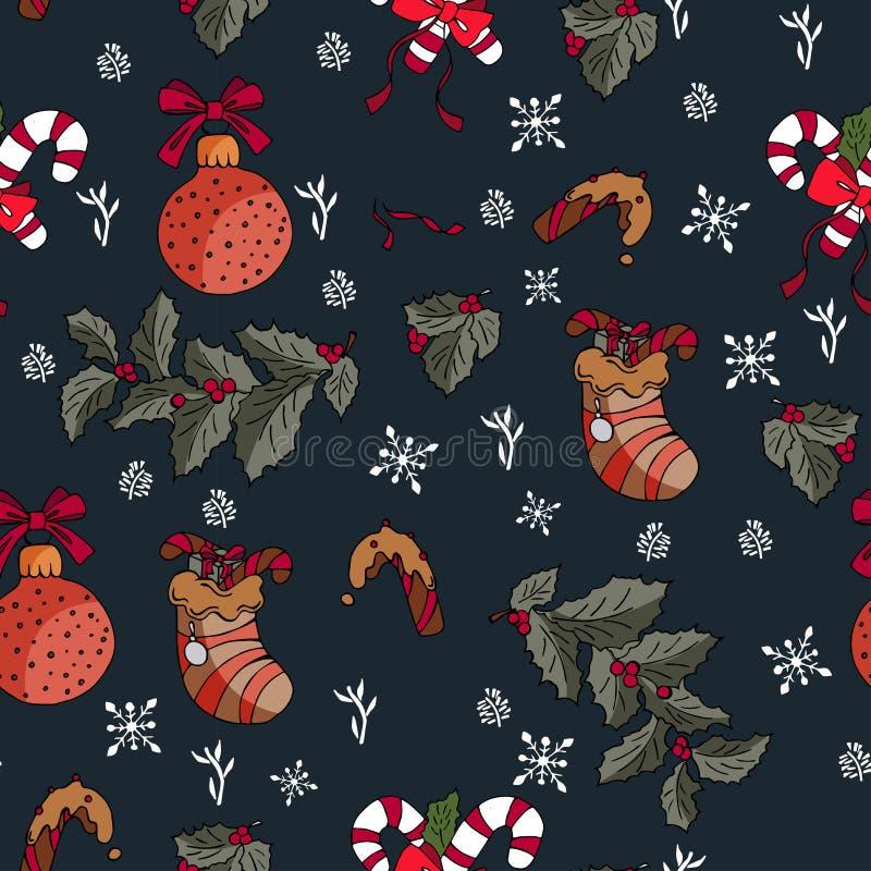 与艺术性的手拉的冬天五颜六色的元素的无缝的传染媒介寒假背景在任意顺序重复了所有  库存例证