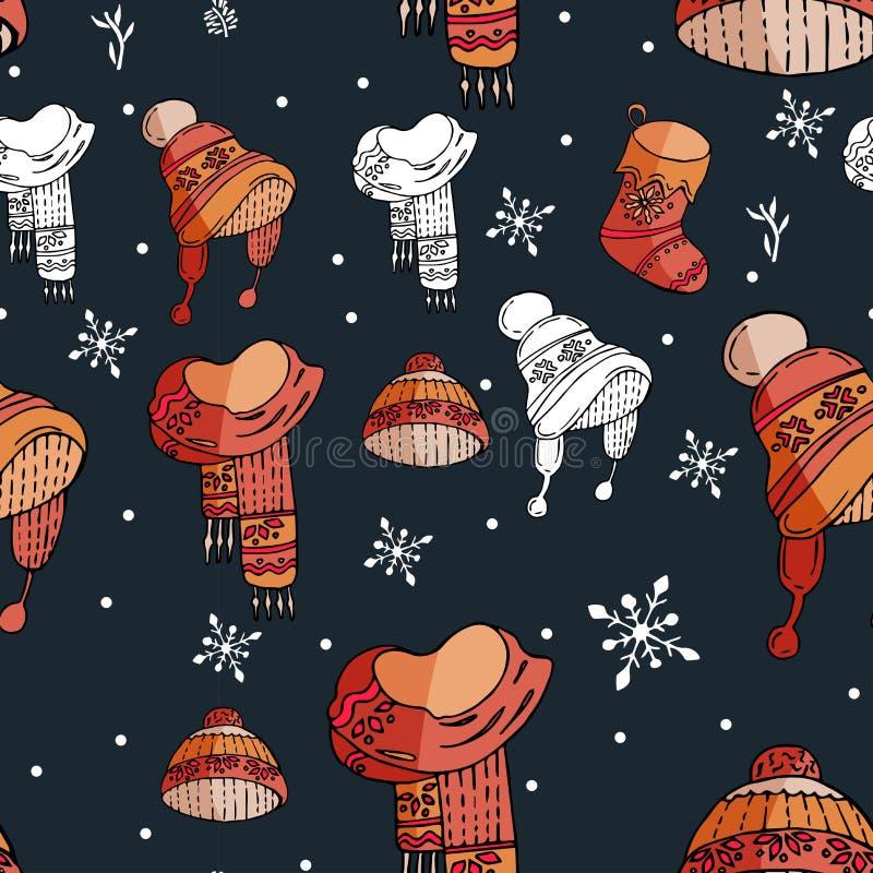 与艺术性的手拉的冬天五颜六色的元素的无缝的传染媒介寒假背景在任意顺序重复了所有  皇族释放例证
