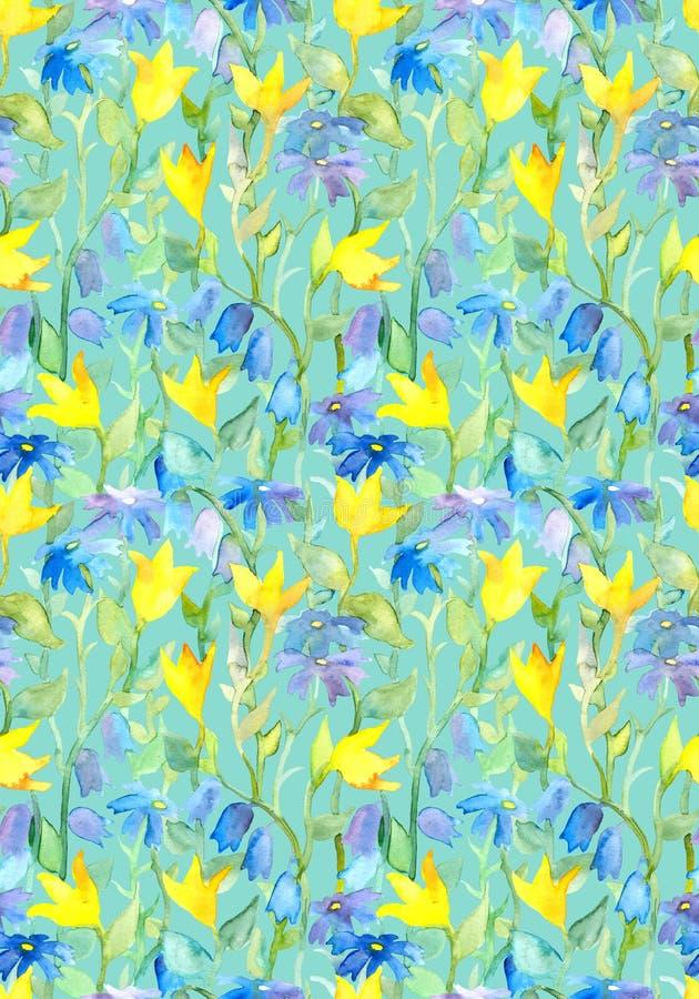 与艺术摘要的无缝的重复的花卉模板开花 向量例证