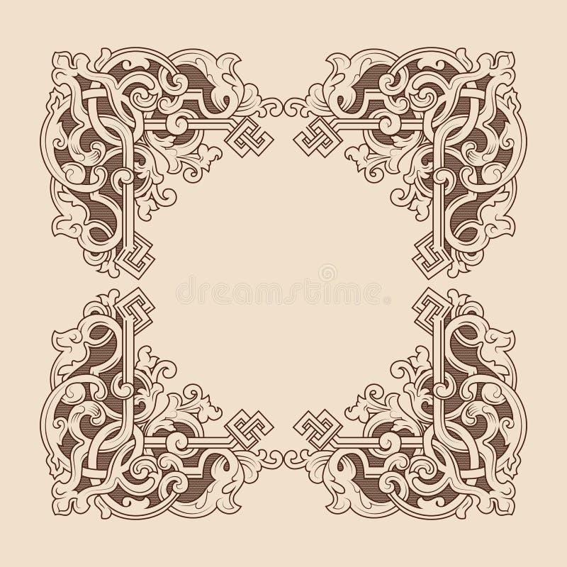 与艺术装饰品的装饰框架 r 葡萄酒设计元素角落 皇族释放例证