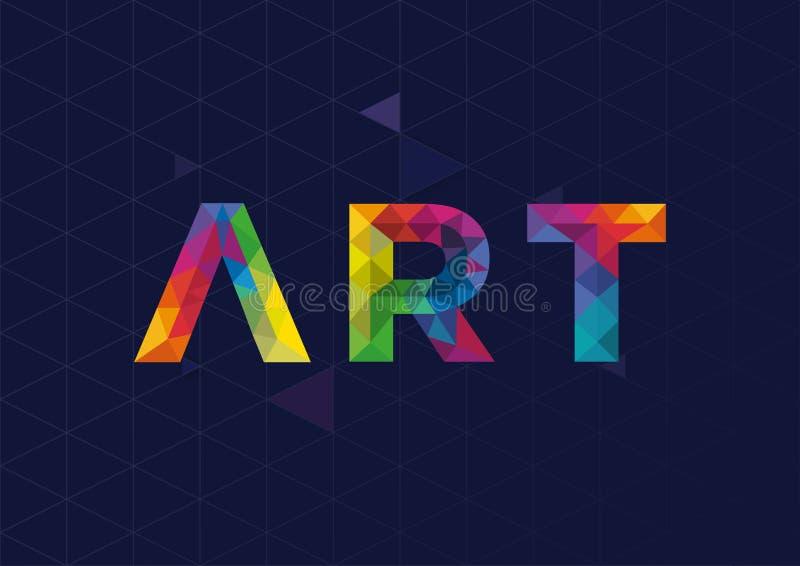 与艺术词的现代几何传染媒介设计 免版税库存图片