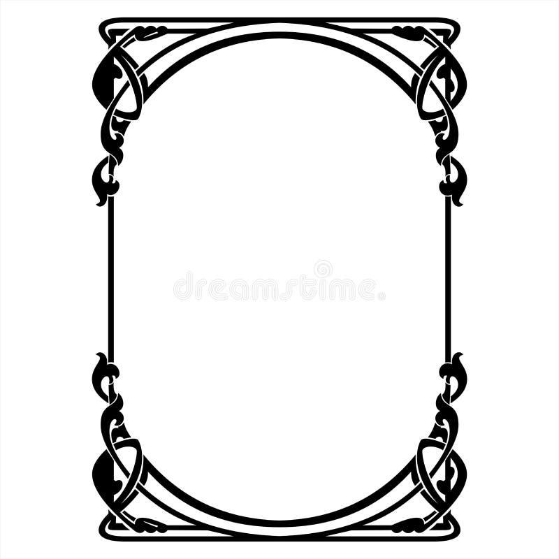 与艺术Nouveau装饰品的长方形装饰框架 库存照片