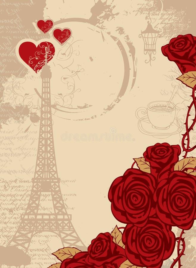 与艾菲尔铁塔、心脏和玫瑰的背景 库存例证