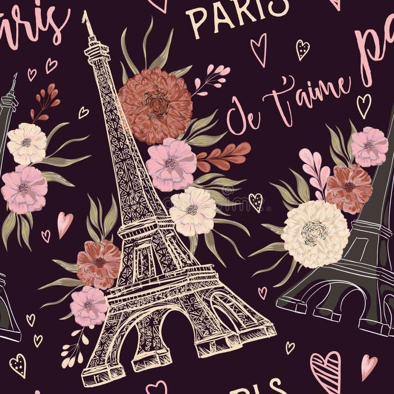 巴黎 与艾菲尔铁塔、心脏和花卉元素的葡萄酒无缝的样式在水彩样式 向量例证
