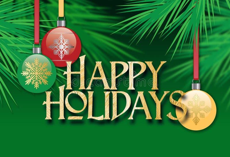 与节日快乐消息的圣诞树装饰品 向量例证