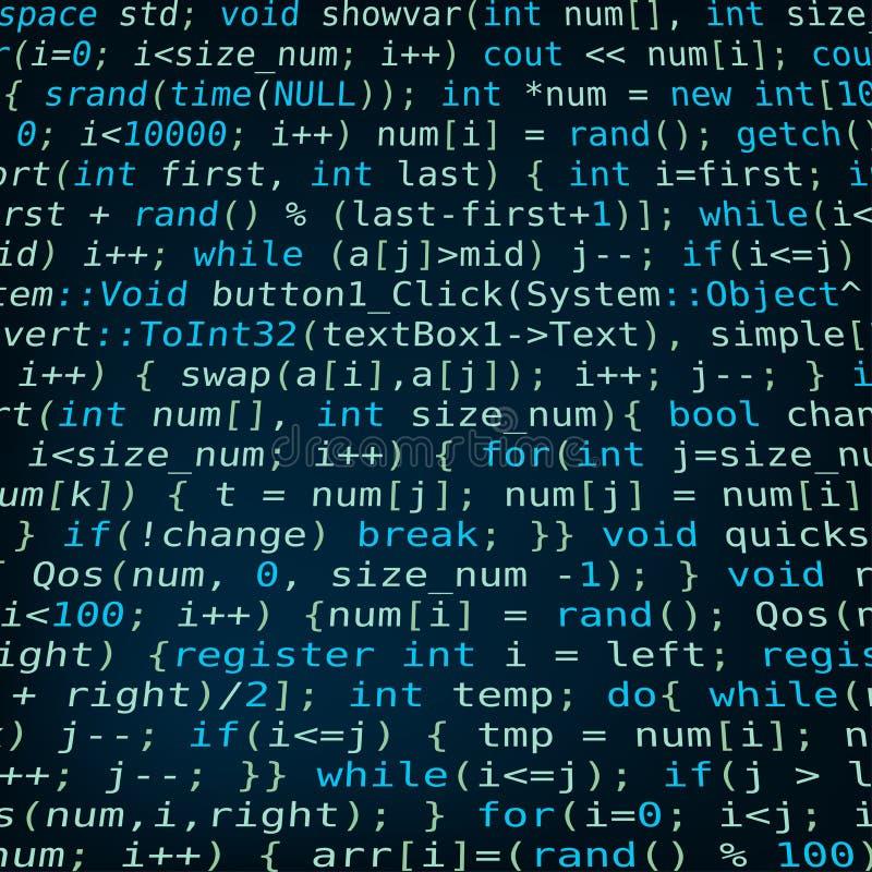 与节目代码的深蓝背景 库存例证