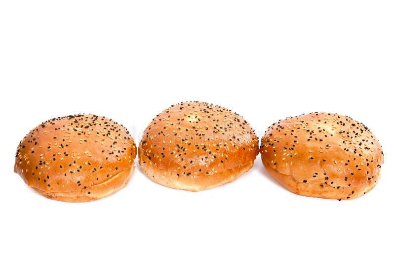 与芝麻籽的三个汉堡小圆面包在白色背景 库存图片