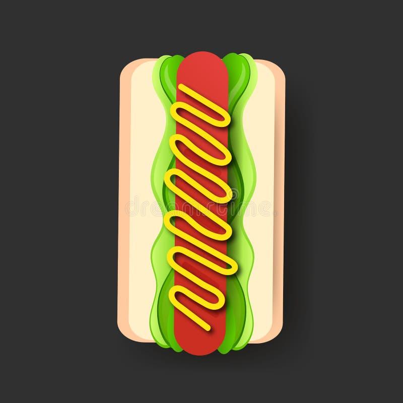 与芥末海报模板传染媒介的美国热狗三明治 向量例证