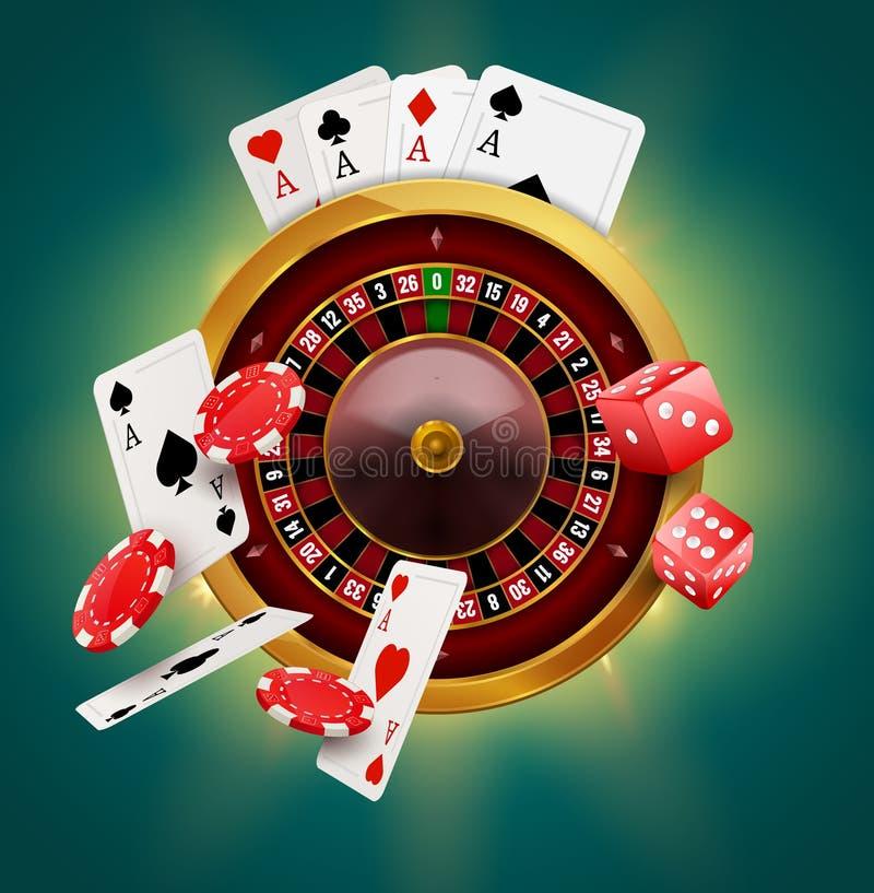 与芯片、硬币和红色模子现实赌博的海报横幅的赌博娱乐场轮盘赌 赌博娱乐场维加斯时运轮盘赌的赌轮设计飞行物 向量例证