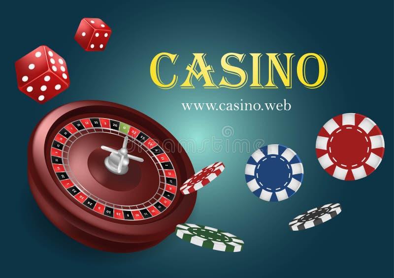 与芯片的赌博娱乐场轮盘赌,红色模子现实赌博的海报横幅 赌博娱乐场维加斯时运轮盘赌的赌轮设计飞行物 蓝色 库存例证